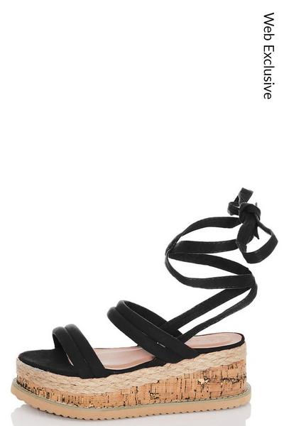 Black Tie Up Flatforms